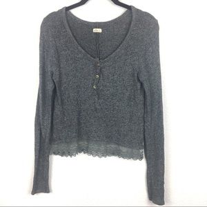 Hollister Dark Grey Lace Button Down Long Sleeve